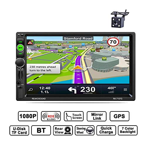 Reakosound MP5 Player 7 Zoll autoradio 2 din 1080P HD Touchscreen Bluetooth Freisprecheinrichtung GPS Navigation radio FM / AM / RDS Radio Rückfahrkamera