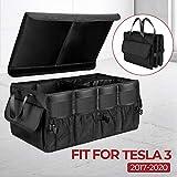BougeRV Kofferraumtasche Kofferraum Organizer für Tesla Model 3, Kofferraum Veranstalter Faltbare Aufbewahrungsbox mit Deckel Befestigungsgurte Antirutsch-Klett
