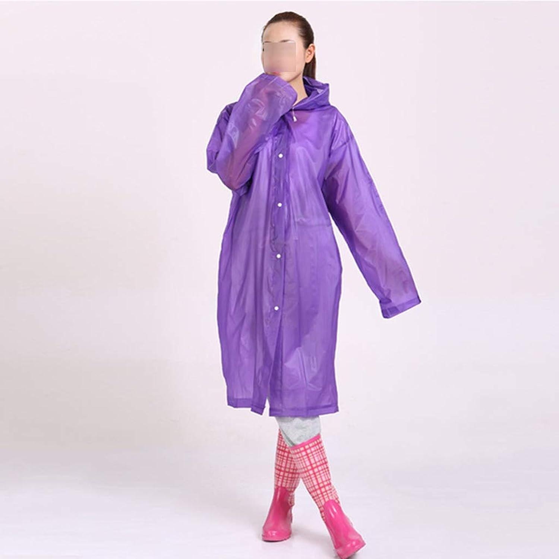 レインコートポンチョ大人フード付きジャケットファッションカラー6色 (色 : Purple)