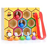 WOOD CITY Toddler Fine Motor Skills Toys,Bee to Hive Matching Game, Wooden Color Sorting Toy for Toddler 2 3 Years Old, Montessori Preschool Learning Toys Gift for Children