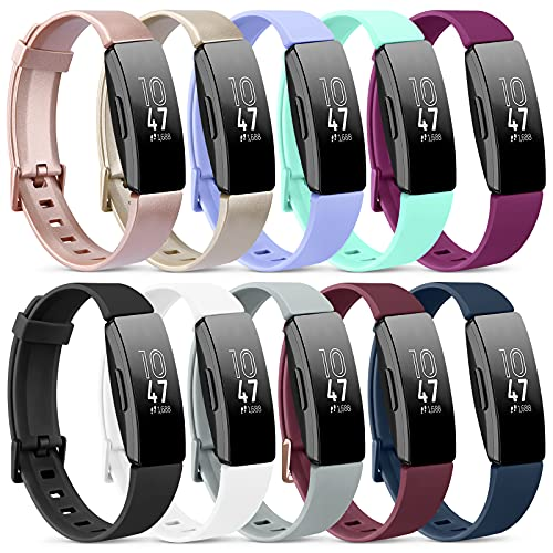 """Pack 10 Silicone Bands for Fitbit Inspire 2 / Fitbit Inspire HR/Fitbit Inspire/Ace 2 Replacement Wristbands for Women Men Small Large(Without Tracker) (Small: for 5.5""""-7.9"""" Wrists, 10 Pack B)"""