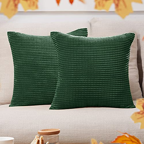 Deconovo Corduroy Pillow Covers, 18x18 Inch, Square Throw Pillow Cover in Dark Green, Cushion Cover with Stripes for Bedroom Sofa Living Room Couch, Set of 2