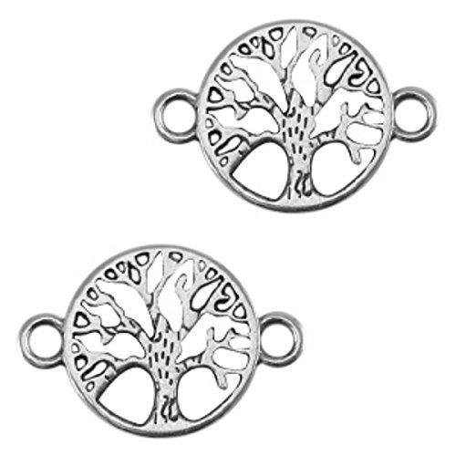 Nuoli Schmuckverbinder Lebensbaum Silber (2 Stück) Armband Zwischenstück Baum 22 x 15mm, DQ Metall Anhänger, Verschiedene Farben wählbar