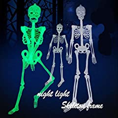 🎅 Luminous Skeleton Body suitable for fancy dancers, party parties, birthday party, Halloween, carnival and other festivals, Cosplay 🎅 Realistic Looking: It includes rib cage, spine, arms, legs, skull and jaw.Spooky addition to any Halloween scene or...