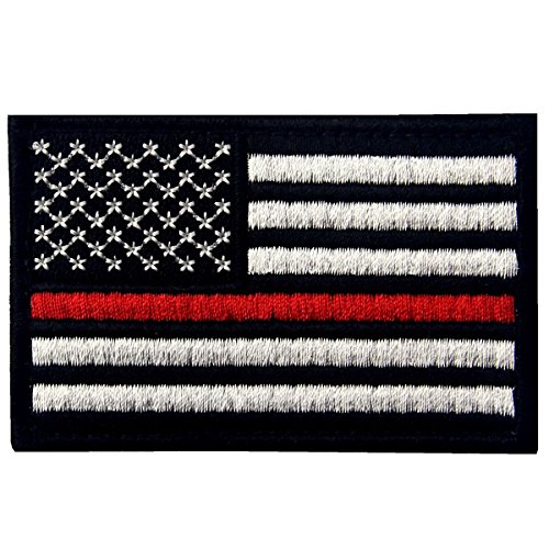 Tactical Embroidered Thin Red Line USA Flag Fastener Hook & Loop Patch