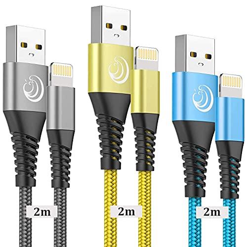 Câble iPhone Chargeur Cable [2m/Lot de 3] Lightning Cable MFi Certifié Nylon Tressé Cordon Charge Rapide Ultra Résistant Fil Compatible avec pour iPhone XR 11 12 Pro Max XS X 8 7 Plus 6s 6 SE 2020