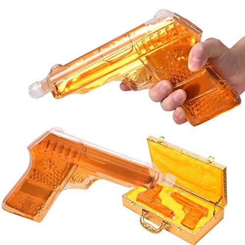 TELAM Decantador de Pistola de Whisky, una Caja de Almacenamiento clásica, Jarra de Whisky de 470 ml con Juego de Piedras de Hielo para Vino, para Whisky escocés, Bourbon y Regalos