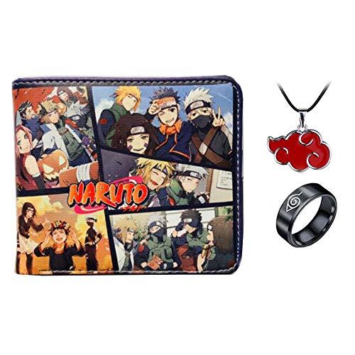 Hombres Boy Anime Cartera de cuero de dibujos animados monedero corto masculino mujeres cartera titular de la tarjeta de crédito con collar anillo, color G, M, Tarjetero