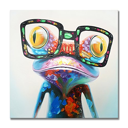 SEVEN WALL ARTS - Happy Frog with Glasses Painting Cute Animal Cartoon Pictures Oil Painting Hand Painted on Canvas Colorful Framed Artwork for Living Room Kids Room Decor 24 x 24 Inch