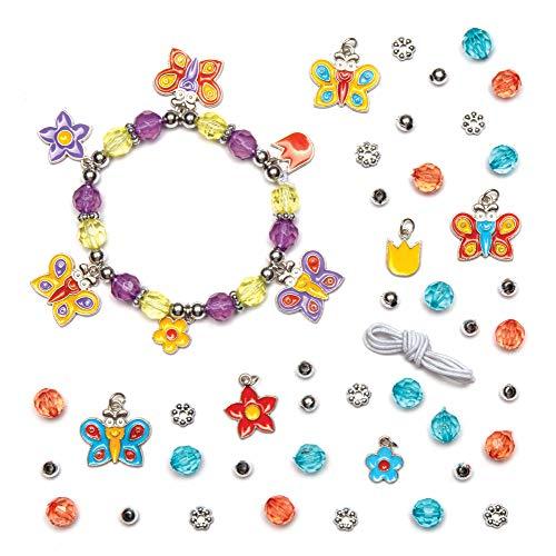 Baker Ross- Kits de pulseras con dijes de mariposas (Pack de 3), Cuentas para crear bisutería infantil- incluye cuentas, dijes y cordón elástico