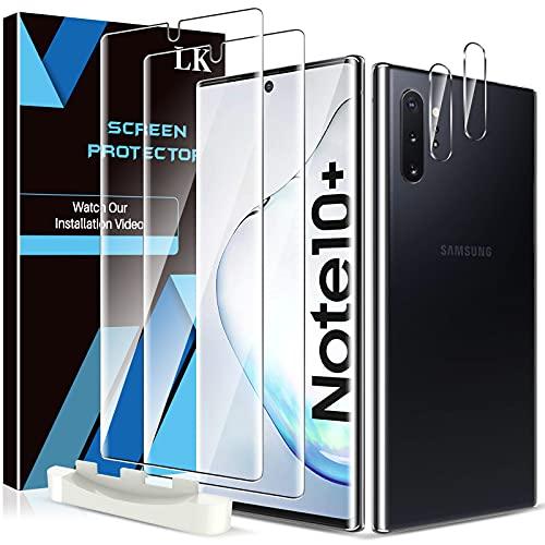 LK Compativel com Samsung Galaxy Note 10 Plus/Note 10+ / Note 10 Plus 5G protetor de ecra, 2 Unidades de vidro temperado e 2 protetores de Lente de Camara, protecao dupla