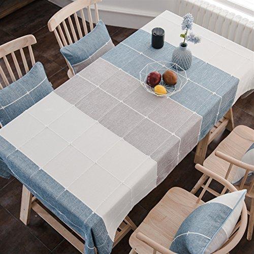 Liveinu Manteles Mesa Rectangular Antimanchas Raya Color de Contraste con Bordado Resistente a Liquidos de Estilo Rectangular de Comedor Cocina Jardin y Bar 90x130cm Azul Gris Beige