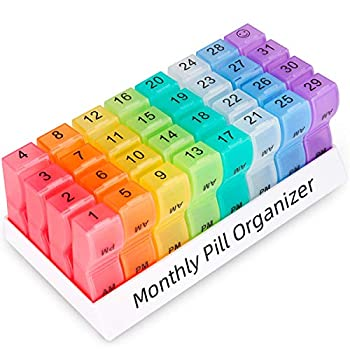 Monthly Pill Organizer 2 Times a Day one Month Pill Box AM PM 30 Day Pill Case Small Compartments to Hold Vitamin and Travel Medicine Organizer 31 Day Pill Organizer 4 Week Pill Cases