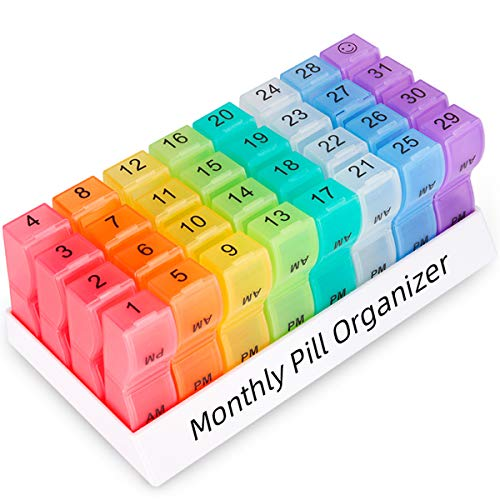 Monthly Pill Organizer 2 Times a Day, one Month Pill Box AM PM, 30 Day Pill Case Small Compartments to Hold Vitamin and Travel Medicine Organizer, 31 Day Pill Organizer, 4 Week Pill Cases (Rainbow)