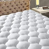 MATBEBY 寝具 キルトフィットキングサイズ マットレスパッド 冷却 通気性 ふわふわ ソフト マットレスパッド 最大21インチまで伸びる キングサイズ ホワイト マットレスプロテクター マットレストッパー