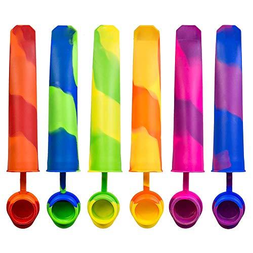 Moldes de hielo Lolly, moldes de silicona reutilizables antiadherentes para helados, con tapa, para meriendas de gelatina, 6 unidades