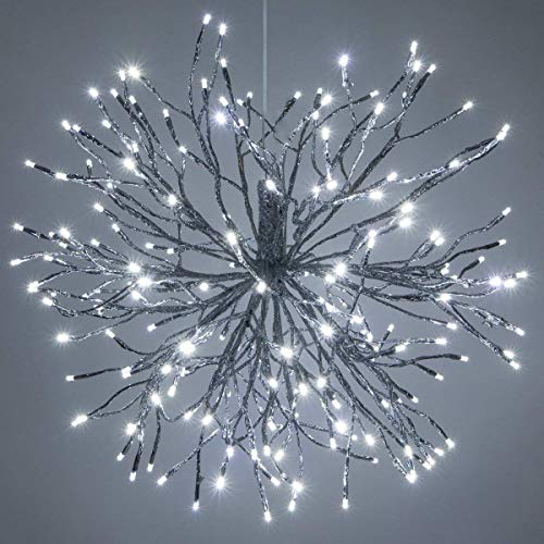 "24"" Silver Starburst Fairy Light Ball Cool White LED Twinkle Lights - Lighted Branches - Wedding Decorations for Party (24"", Silver Branches/Cool White Twinkle Lights)"