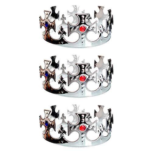 Corona de Rey Cruces Plateada Pack 3 uds (Corona Rey Mago Navidad)