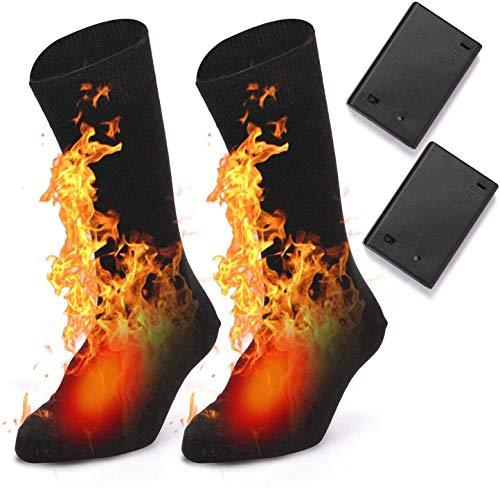 Beenjoy Beheizte Socken, Elektrische Beheizbare Socken für Männer Frauen, Elektrische Fußwärmer Heizsocken Batterie Socken Wärme Baumwollsocken für Outdoor Skifahren Camping Angeln