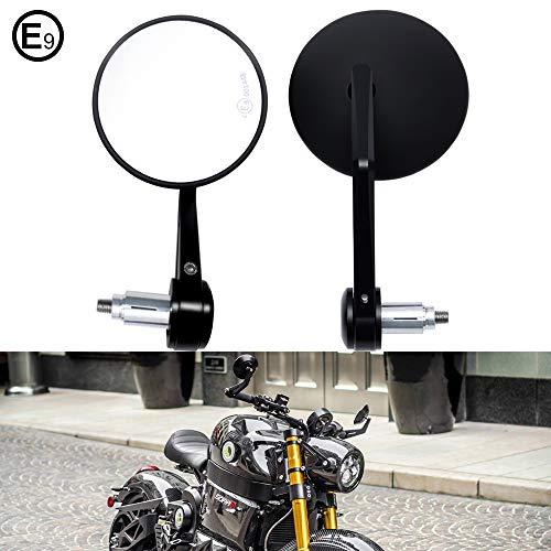 DREAMIZER Espejo retrovisor moto lateral con extremo de barra redonda Espejo de motocicleta para manillar de 7 8 Se adapta a Scooter Street Bike, Dirt Bike, Scooter, Chopper, Cruisers, etc.