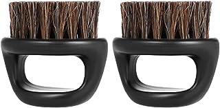 Lurrose イノシシ剛毛ひげブラシハンドルひげブラシポータブルプラスチックメンズショートシェービング(ブラック)2PCS