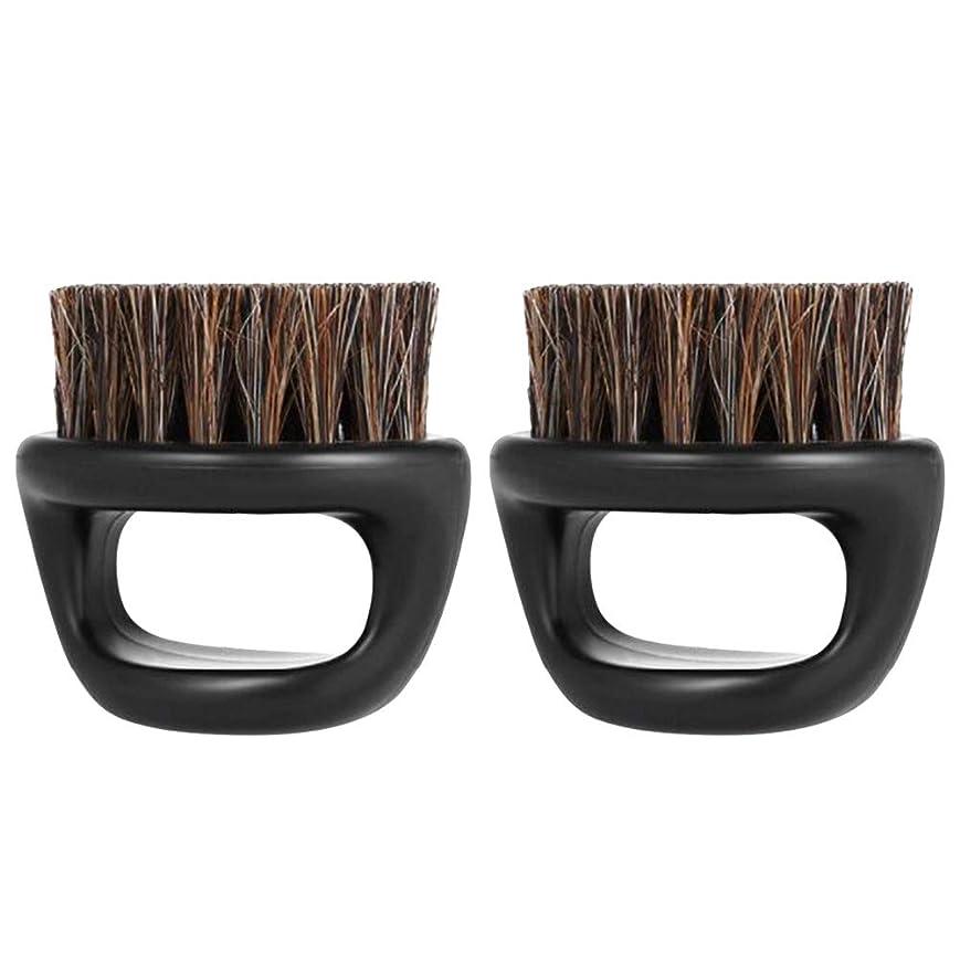 おじさんベンチ決済Lurrose イノシシ剛毛ひげブラシハンドルひげブラシポータブルプラスチックメンズショートシェービング(ブラック)2PCS
