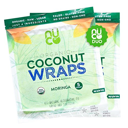 NUCO DUO Certified Organic, Paleo, Gluten Free, Vegan Non-GMO, Kosher Raw Veggie Coconut Wraps Moringa Flavor. NO Salt Added Low Carb and Yeast Free 10 Count (Two Packs of Five Wraps Each)