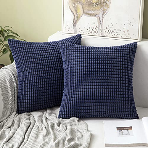 MIULEE Set of 2 Corduroy Soft Big Corn Solid Decorative Square Throw Pillow Covers Cushion Case For Sofa Bedroom 50 x 50 cm 20 x 20 Inch Navy Blue