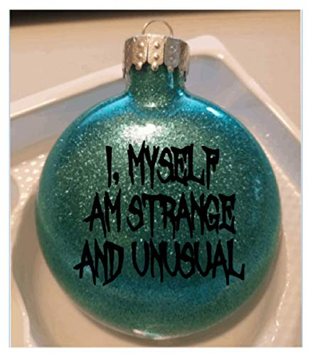 Merch Massacre Strange and Unusual Beetlejuice Teal Glitter Horror Holiday Ornament Shatterproof Disc