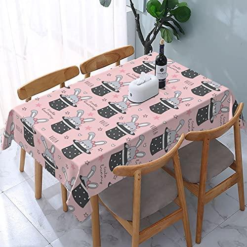XIANGYANG Magic Hat Mantel Rectangular con Forma de Conejo 54 X 72 Impermeable, Lavable, Reutilizable, Mantel para Mesa para Comedor, Cocina, Picnic, decoración del hogar