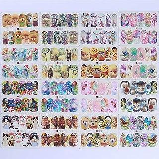 FidgetGear 50枚動物水デカール蝶猫犬のデザインネイルアート転写ステッカー