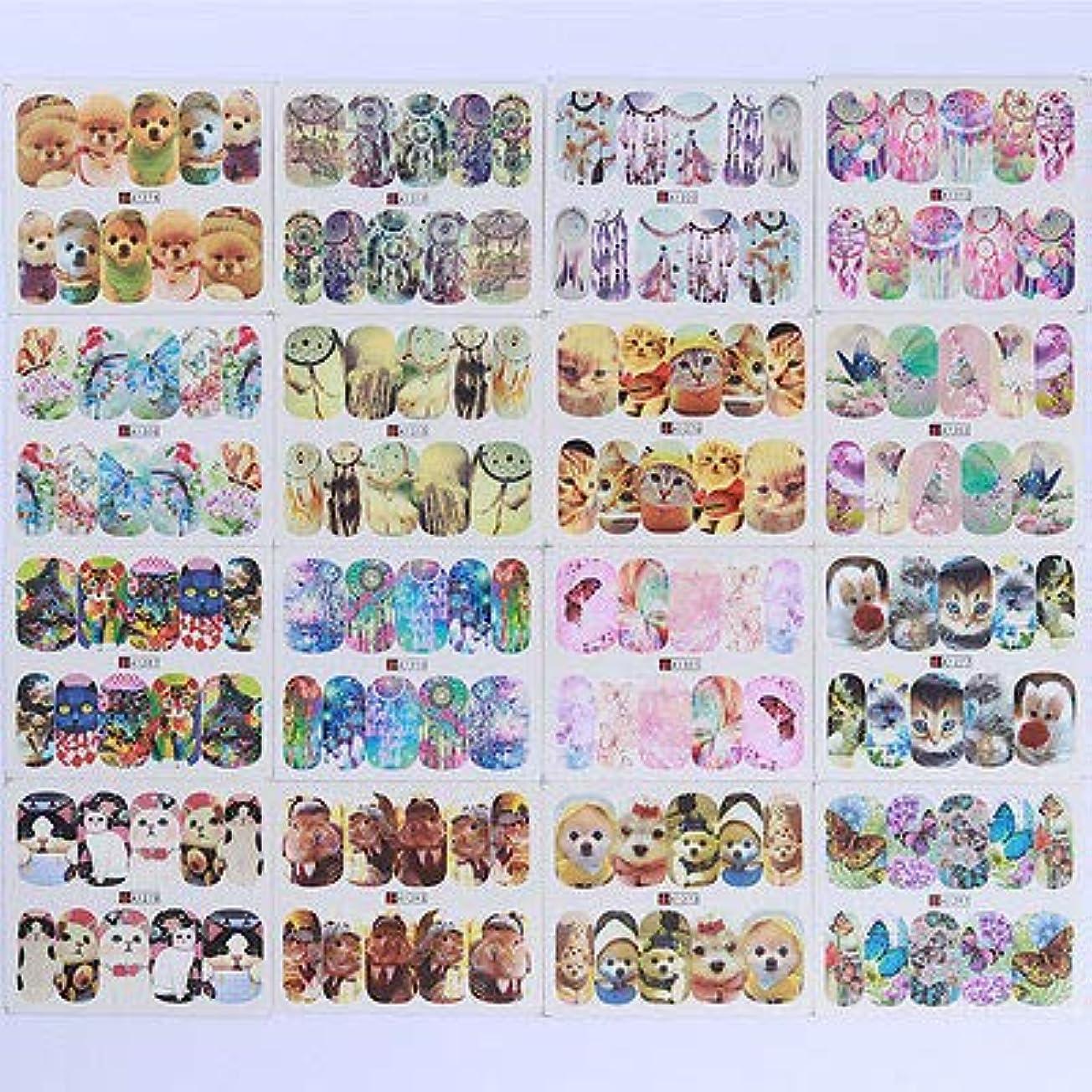 受取人モーテルオーナーFidgetGear 50枚動物水デカール蝶猫犬のテーマネイルアート転写ステッカー