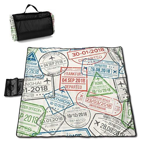LUCKCHN Colchoneta de pícnic, visa de viaje, aeropuerto, manta de playa, manta grande para picnic al aire libre, plegable, impermeable, bolsa de 144,8 x 149,9 cm