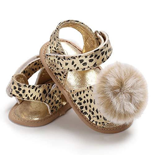 Tree-on-Life Frühling Sommer Baby Mädchen Kleinkind Schuhe Leopardenmuster Sandalen mit Pompon Dekoration lässig weichbesohlte Prinzessin Schuhe