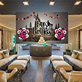 BlinBlin Magical Wizard Zauberer Geburtstag Party Hintergr& Supplies Happy Birthday Hintergr& Banner, Luftballons Kuchen Flagge Schloss Feuer Fluchten Drachen Kinder Zauberer HP-Thema Party