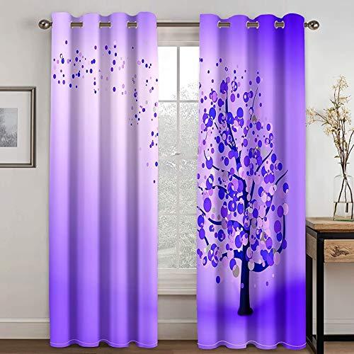 Epinki Cortina Ventana Dormitorio Árbol con Círculos Púrpura Cortinas Poliester, Disponible en 21 Tamaños, Talla 274x160CM
