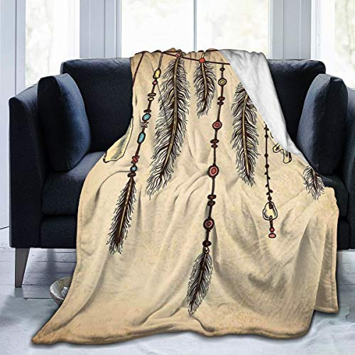 LLALUA Flannel Fleece Throw Blanket, Bohemian Etnisch Haaraccessoires met Bird Feathers Beads On String Sketch Digitale druk, zachte fluffy Throws Microfiber Blanket