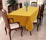 Airwill 100% Cotton Solid Pattern 8 Seater Rectangle Table Cover Sized, 56x95 inches (Yellow, Pack of 1)