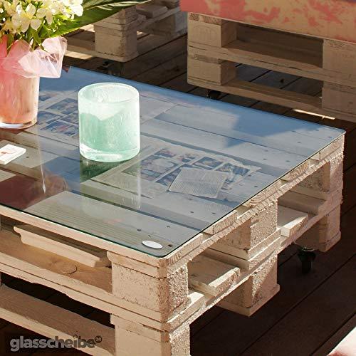Temprix Glasplatte für Palettentisch | Glasauflage für Palettenmöbel & Couchtisch | Palettentischglas für Europalette | Glastischplatten in Maßanfertigung auf Anfrage