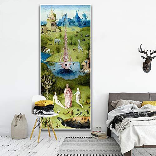 SDFSD licht van Hieronymus Bosch HD details canvasdruk schilderij kunst wandschilderijen voor woonkamer wooncultuur Micro Jet Technology40x95cm