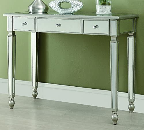 Best Coaster Home Furnishings 3-Drawer Mirrored Console Table Antique Silver
