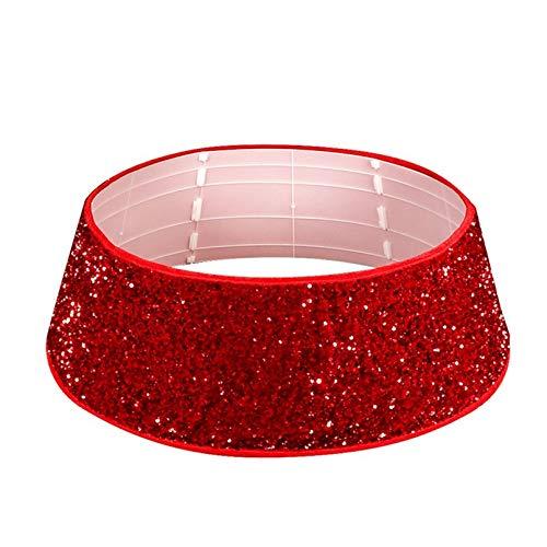 YOGANHJAT Weihnachtsbaumkragen, Rote Pailletten Base Collar Dreidimensionaler 30-Zoll-Weihnachtsbaumring Xmas Holiday Ornament Box Verpackung für Einkaufszentren Yards Squares