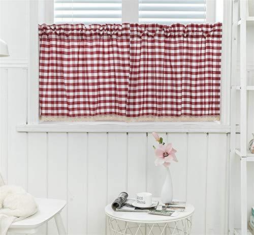 Dreamskull - Tende corte, per cucina, corte, per finestre, finestre, oscuranti, vintage, set da 2 pezzi, 74 x 61 cm