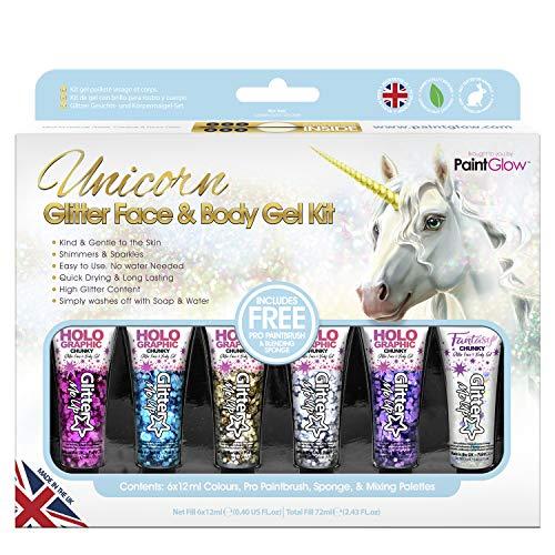 Paintglow - Unicorn Glitter Brillo Facial y Corporal - 1 boxset