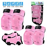 Kids/Youth/Adult Knee Pads Elbow Pads with Wrist Guards Protective Gear Set 6 Pack for Rollerblading Skateboard Cycling Skating Bike Scooter Riding Sports (Pink, S/Kids(3-7 Years))