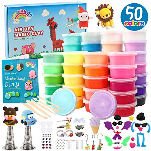 HOLICOLOR Modeling Clay Kit Air Dry Magic Clay 50 Colors (0.7 Ounce Per Box) Includes Extra 1 White and 1 Black Kids Art Craft Kit with Animal Accessories Set and Tools, Best Gift for Girls and Boys 3-12 year old