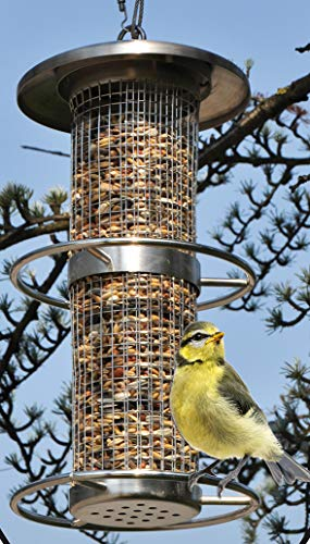 Novatool Vogelfutterstation I Edelstahl I zum Aufhängen I 27 cm I Vogelfutterhalter Vogelstation Vogelfutterspender Nussspender Futtersilo Vögel