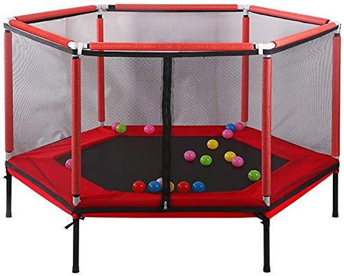 Children's Trampoline, Indoor Aerobic Fitness Apparatuur Voor Mannen En Vrouwen, Met Zeshoekige Vangnet En 38 Voorjaar Springen Trampolines, Met Een Gewicht Van 150 Kg,Red
