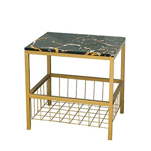 ZWD Mesita de Noche, Sofá de mármol Mesa de Centro pequeña Sala de Estar Creativa Dormitorio Mesa de Noche de Oro Mesa Cuadrada pequeña 40 * 50 * 50CM Mueble (Color : Black)