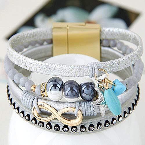 Bracelet Bijoux De Mode 8 Infinity Starfish Perles en Céramique Charm Bracelets & Bangles Bracelet en Cuir Magnétique pour Les Femmes Argent